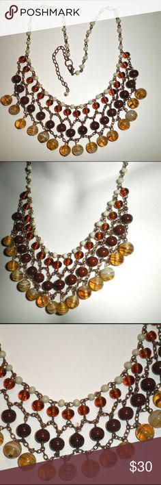 """PRETTY MULTI COLORED GLASS BEAD 16"""" CHOKER  This beautiful 16"""" choker is the perfect accessory for the night on the town. The multicolored, 2"""" glass bead webbing gives it an elegant, yet a fresh boho look. Unique quality piece. Excellent vintage condition. Vintage Jewelry Necklaces"""