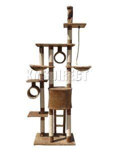 Deluxe Multi Level Cat Scratcher Cat Tree Activity Centre Scratching Post Activity Toys D006 Brown Faux Fur 50cm x 70cm x 230cm - 260cm Height Adjustable from KMS - Pet-r-us.com