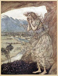 Sweet echo.    Arthur Rackham, from Comus, by John Milton, New York, London, 1921.