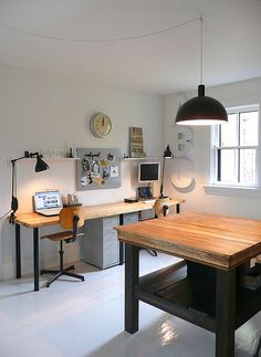 Large black pendant over a worktable in the storage room / man cave?