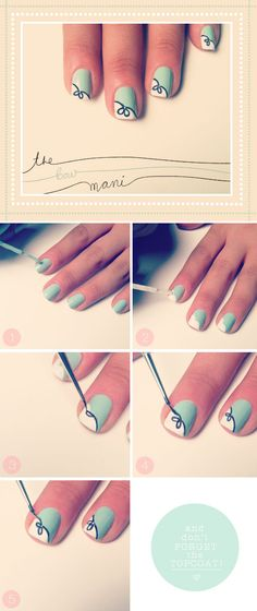 The Bow Mani | The Beauty Department  The Beauty Department just keeps pumping out these gorgeous manis and I'm totally in love with this one! Is it just me or does this remind you of a Tiffany's box?! If you don't own a nail art pen, my lovely readers suggest using instead the thinest paint brush you can find instead. Cheaper and it means any of your nail polishes can become a 'pen'!