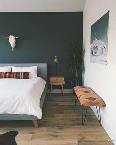 kilim bench in gray bedroom