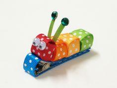 Cutie Bling Caterpillar Clippie - No Slip - Rainbow Brite Caterpillar