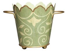 Scrolling Sage Scalloped Cachepot