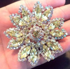 "*RARE* VINTAGE ESTATE SIGNED WEISS AB YELLOW RHINESTONE 2 1/2"" BROOCH 