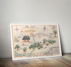 100 Aker Wood / Winnie the Pooh Map Print / Classic Winnie the