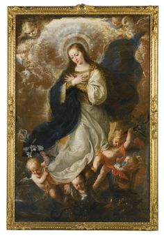 Mateo Cerezo BURGOS 1637 - 1666 MADRID THE IMMACULATE CONCEPTION oil on canvas, unlined 167.4 by 109.4 cm.; 65 7/8  by 43 in.