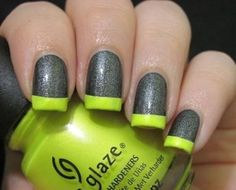 LOVIN the neon tips against a grey glitter inspired mani!!!! ❤