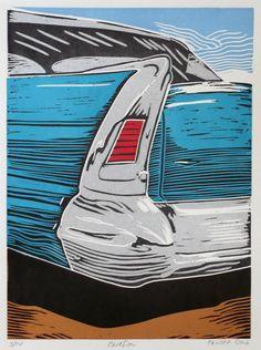 Bluefin Linoleum Print/Linocut of a vintage car by ChromaFineart, $50.00