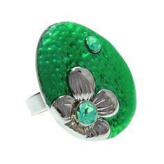 Anillo Flor y Cristal Verde