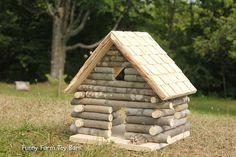 Log Cabin Dollhouse Natural Waldorf Custom by FunnyFarmToyBarn