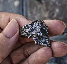 Masonic Jewelry, Viking Jewelry, Gothic Rings, Gothic Jewelry, Mens Skull Jewelry, Mens Jewellery, Silver Skull Ring, Skull Rings, Silver Rings