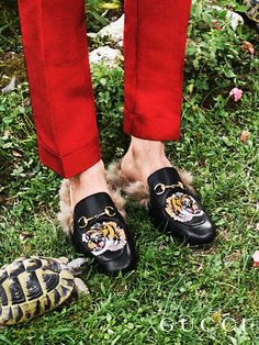 Presenting gifts from the Gucci Garden. Featuring the Horsebit hardware and embroidered patches, the plush Princetown slippers by Alessandro Michele.