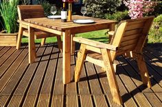 Our 2 Seater Wooden Outdoor Dining Bistro Set is constructed at our factory in the UK and manufactured from Solid Scandinavian Redwood. Garden Dining Set, Outdoor Dining Set, Outdoor Seating, Outdoor Chairs, Outdoor Decor, Bistro Table Set, Garden Furniture, Outdoor Furniture, Wood Patio