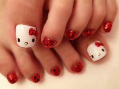 Red glitter toe nails with white Hello Kitty big toe  free hand nail art pedicure