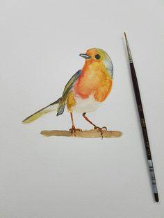 Simple watercolor bird.