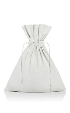 White Pleated Leather Drawstring Bag by J.W. Anderson for Preorder on Moda Operandi