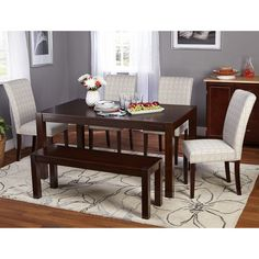 Target Marketing Systems Axis 6 Piece Dining Table Set - 74016GRY