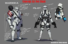 The Star Wars Comic's New Stormtroopers concepts by Jorge Molina Star Wars Comics, Rpg Star Wars, Star Wars Clone Wars, Star Wars Clones, Cuadros Star Wars, Comic Manga, Star Wars Concept Art, Marvel, Sci Fi Characters