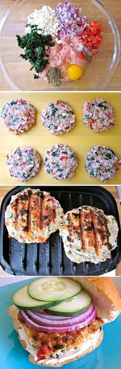Turkey Burger ........ Ingredients: 7 oz. plain greek yogurt 1 medium fresh lemon ¼ tsp minced garlic  ¼ tsp dried dill 1.25 lb. ground turkey  6 halves sun dried tomatoes  1 medium red onion  2 oz. frozen spinach  ¼ cup crumbled feta  1 tsp dried oregano  ½ tsp minced garlic  ⅓ cup bread crumbs  1 lg. egg 1 med. cucumber  6 hamburger buns  , to taste salt and pepper.......Kur <3