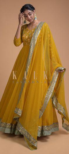 Mustard Yellow Anarkali Suit With Embroidered Bodice In Floral Pattern Online - Kalki Fashion Indian Fashion Dresses, Dress Indian Style, Indian Outfits, Anarkali Dress, Anarkali Suits, Sharara Suit, Pakistani Suits, Salwar Kameez, Designer Punjabi Suits