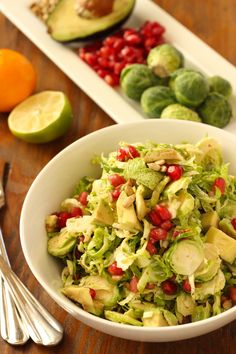 Brussels Sprout Slaw with Pomegranate and Avocado|Craving Something Healthy This nutritious salad takes just 10 minutes to make and is great as a side or on top of a sandwich.