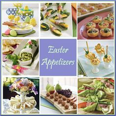 1. Easter Plates by Sur La Table  2. Proscuitto-Wrapped Mango Bites  3. Bruschetta-Goat Cheese Cups  4. Basil-Cheese Roulade  5. Spicy Roasted Bell Pepper Pimiento Cheese  6. Curried Chicken Salad Tea Sandwiches  7. Gorgonzola Truffles  8. Beef-and-Asparagus Bundles