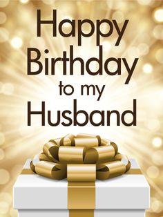 Golden Happy Birthday Card for Husband