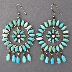 Native Navajo Sterling Silver XLG Turquoise Cluster DANGLE EARRINGS - E Lincoln