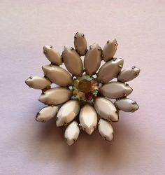Milkglass White Rhinestone Flower Brooch Pin.