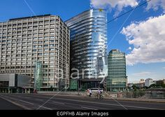 Office district along Donaustrasse in Vienna, Austria Stock Photo