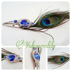 This sterling silver and stainless steel fascinator is made with swarovski crystal, sunstone, sapphire and a peacock feather.
