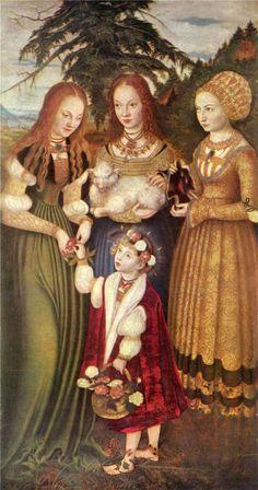 Saints Dorothea, Agnes and Kunigunde, by Lucas Cranach the Elder, 1506 - BLUE!