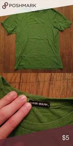 Broken English plain tee Green tee shirt, mens medium, fitted! Geneltly used in great condition! Broken English Shirts Tees - Short Sleeve