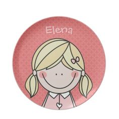 A cute blonde cartoon girl in pigtails + your name = an adorable plate.