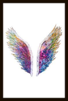 Asas de anjo colorida, rainbow, asa de anjo png