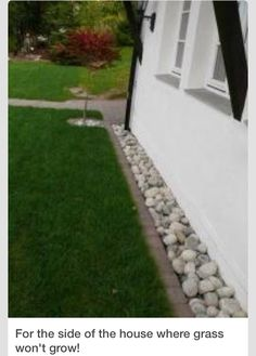 Rock border around house.