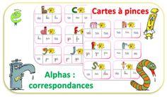 Cartes à pinces - Alphas et correspondances - jeu