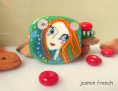 jasmin french ' friends ' lampwork focal bead glass art