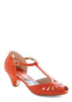 Orange Vintage-Inspired Sandals