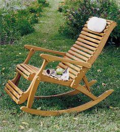 American Made Oak Rocker Recliner - Plow & Hearth Reclining Rocking Chair, Double Rocking Chair, Rocking Chair Plans, Rocking Chairs, Outdoor Wood Furniture, Funky Painted Furniture, Painted Chairs, Painted Tables, Modern Furniture