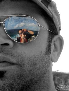 Another sunglasses reflection /self portrait - Ocean, Isla Mujeres .