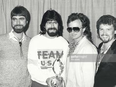 Musicians Teddy Gentry, Randy Owen, Mark Heardon and Jeff Cook of the music group Alabama attend Annual People's Choice Awards on March 1987 at the Santa Monica Civic Auditorium in Santa Monica, California. Country Bands, Country Music, Fort Payne Alabama, America Band, Great Memories, Cool Bands, My Boys, Over The Years, Guys