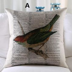 Bird Pillow Vintage Style Decorative Pillows For Couch Decoration