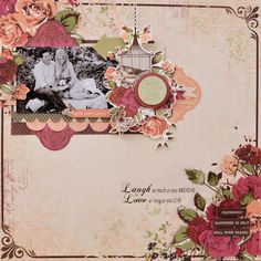 """""""Love & Laugh"""" Layout by Joanne Bain Scrapbook Blog, Scrapbooking Layouts, Scrapbook Pages, Resin Flowers, Clear Stamps, Zentangle, Presents, Bloom, Paper Crafts"""