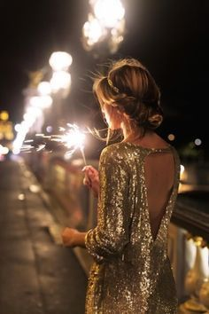 New Years Eve outfit idea - gold sequin dress
