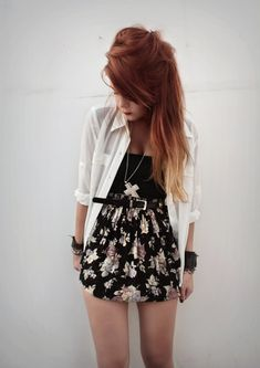 love the floral skirt and the white shirt is adorable the black belt and the accessories are great so i give this a 9.9!!!<3