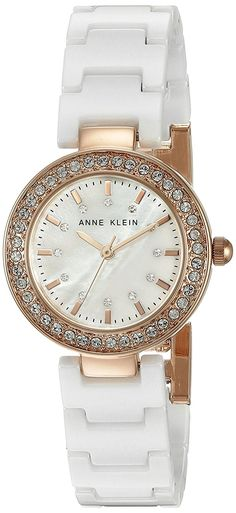 Anne Klein Women's AK/1986RGWT Swarovski Crystal Accented Rose Gold-Tone and White Ceramic Bracelet Watch -- Learn more by visiting the image link.