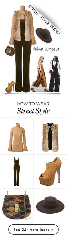 """Street Style Trend: Jumpsuit'"" by dianefantasy on Polyvore featuring STELLA McCARTNEY, Unique, Brixton, Chloé, Bailey 44, velvet, jumpsuit, polyvoreeditorial and nyfwstreetstyle"