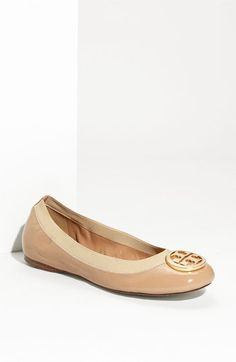 Perfect for travel - comfortable and presentable! Tory Burch Caroline Elastic Trim Ballerina Flat available at #Nordstrom